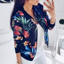 New Ladies Ribbed Trim Flower Print Bomber Jacket Women Autumn Printing Long Sleeve Casual Tops Zipper Jacket Outwear Loose Tops whipstitch trim ribbed tee