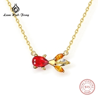 100% Sterling Silver Gemstone Necklace Natural Retro Royal Garnet Goldfish Pendant Necklace Pink Crystal Female Fine Jewelry