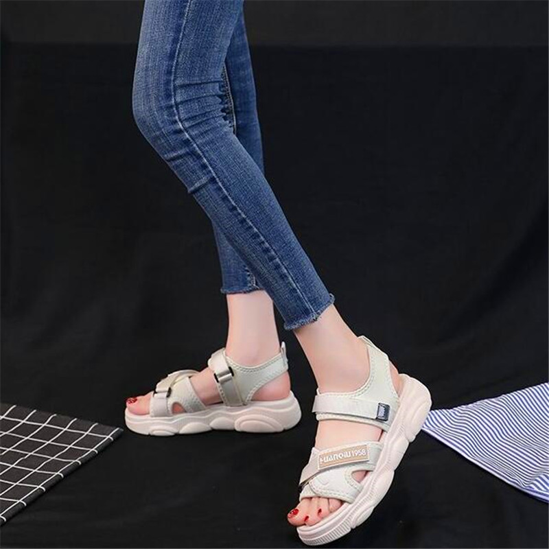 2019 new fairy wind beach summer net red super fire wild fashion flat female sandals in Low Heels from Shoes