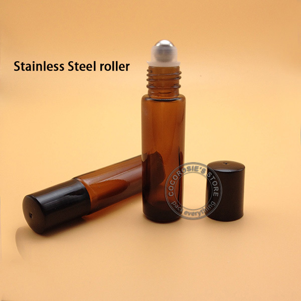 10PCS 10ML glass roll on bottle for essential oils,roll 10ml glass,amber roll-on