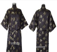 Free Shipping!Wholesale And Retail Chinese Men's Silk Satin Robe Gown With Belt Character S M L XL XXL XXXL MR006
