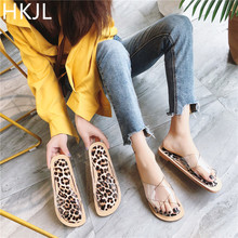 HKJL 2019 Summer Flat Clear Shoes Women Transparent Slippers Slides Fashion Open Toe Outside Beach slippers A007
