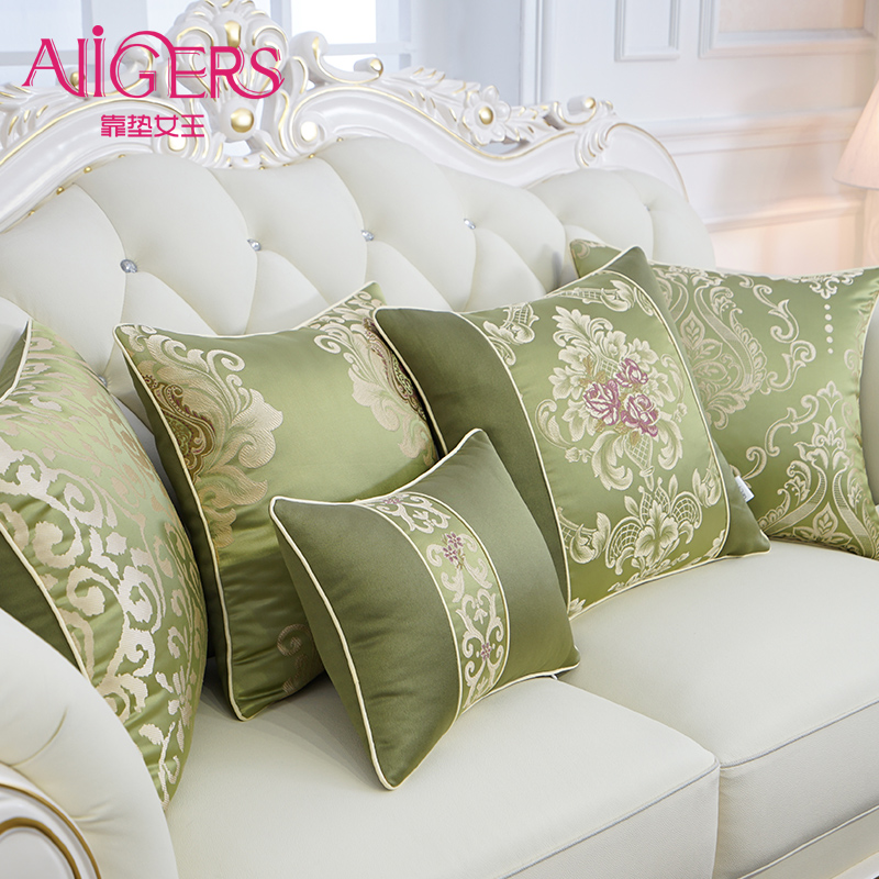 Avigers Luxury European Cushion Cover Silky Cotton Pillow Cover Floral Pillow Case Home Decorative Sofa Car Bedroom Throw Pillow