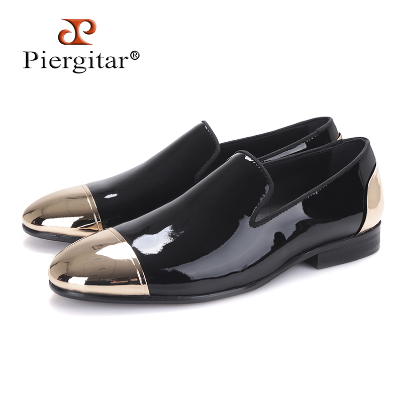 Piergitar 2018 new Black and White Patent Leather men Handmade shoes Party and Wedding men dress shoes Plus size men's loafers piergitar new arrival men black velvet shoes with black patent leather toe rivets prom and party men dress shoes male s loafers