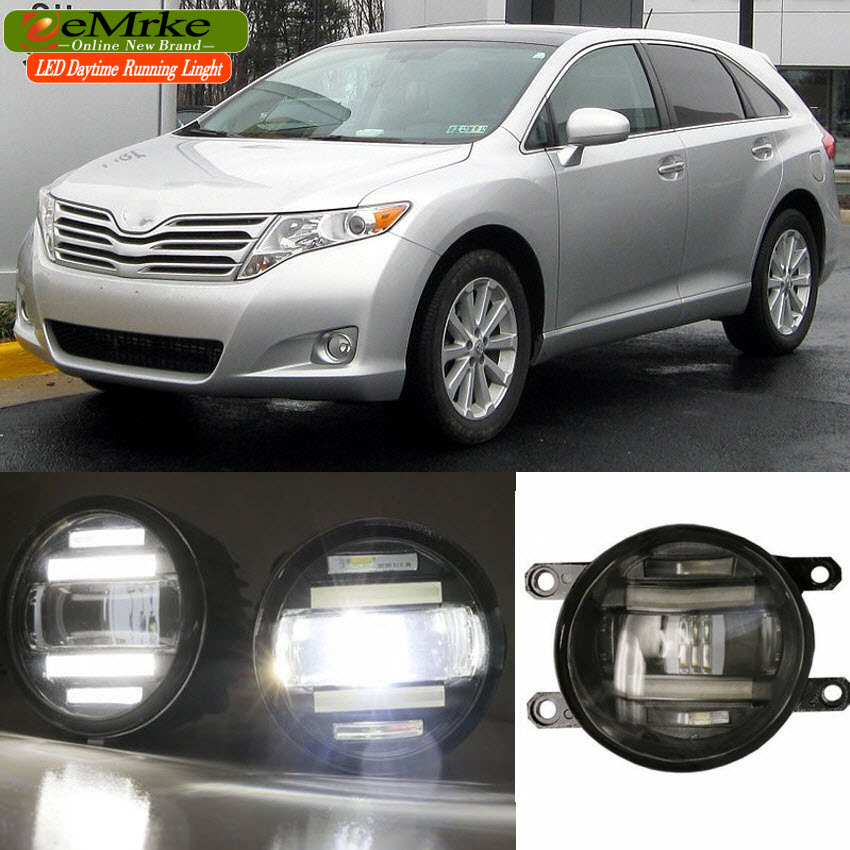 eeMrke Xenon White High Power 2in1 LED DRL Projector Fog Lamp With Lens For Toyota Venza 2009-2015