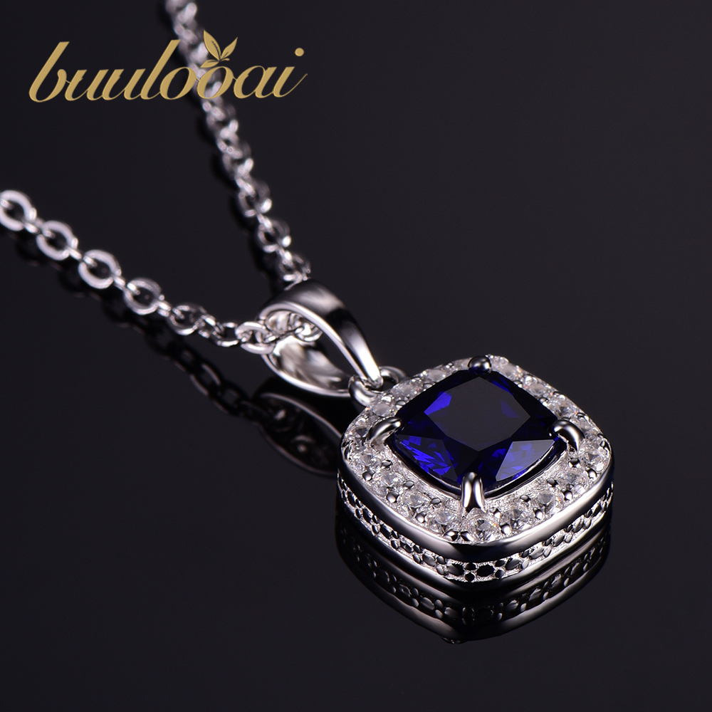 100% Real 925 Sterling Silver Pendant For Women Vintage Wedding Engagemen Fine Jewelry Created Sapphire