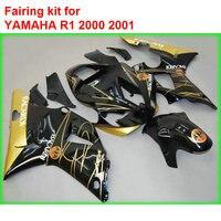 Новые детали кузова обтекателя комплект для Yamaha YZFR1 2000 2001 золотой комплект пластиковых обтекателей YZF R1 00 01 BM09