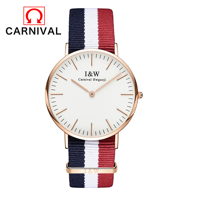 2016 Carnival Men Watch Top Brand Waterproof Stainless Steel Date Quartz Wristwatches Blue And Red Nylon Cloth Strap Watches testboy tv445 инсталяционный тестер red