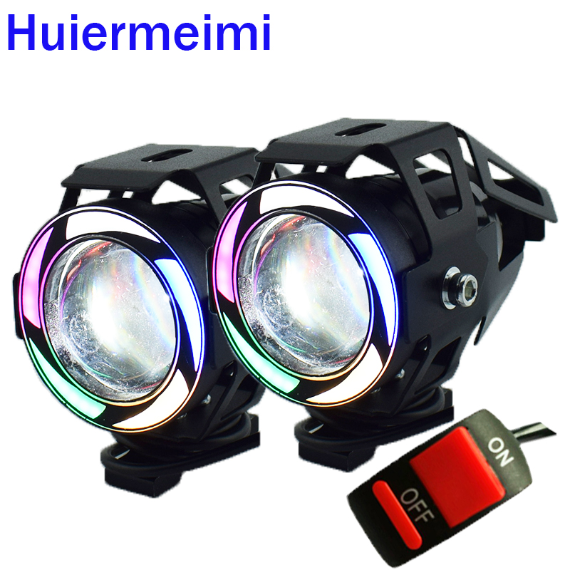 1Pair U7 Motorcycle LED Headlights 12V 125w Motorbike lamp Spotlight Motor Bicycle Fog Light 5Color moto auxiliary head lamp