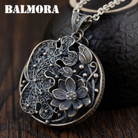 BALMORA 990 Pure Silver Vintage Flower Hollow Pendants For Women Lover Necklace Accessories Jewelry Gift Without