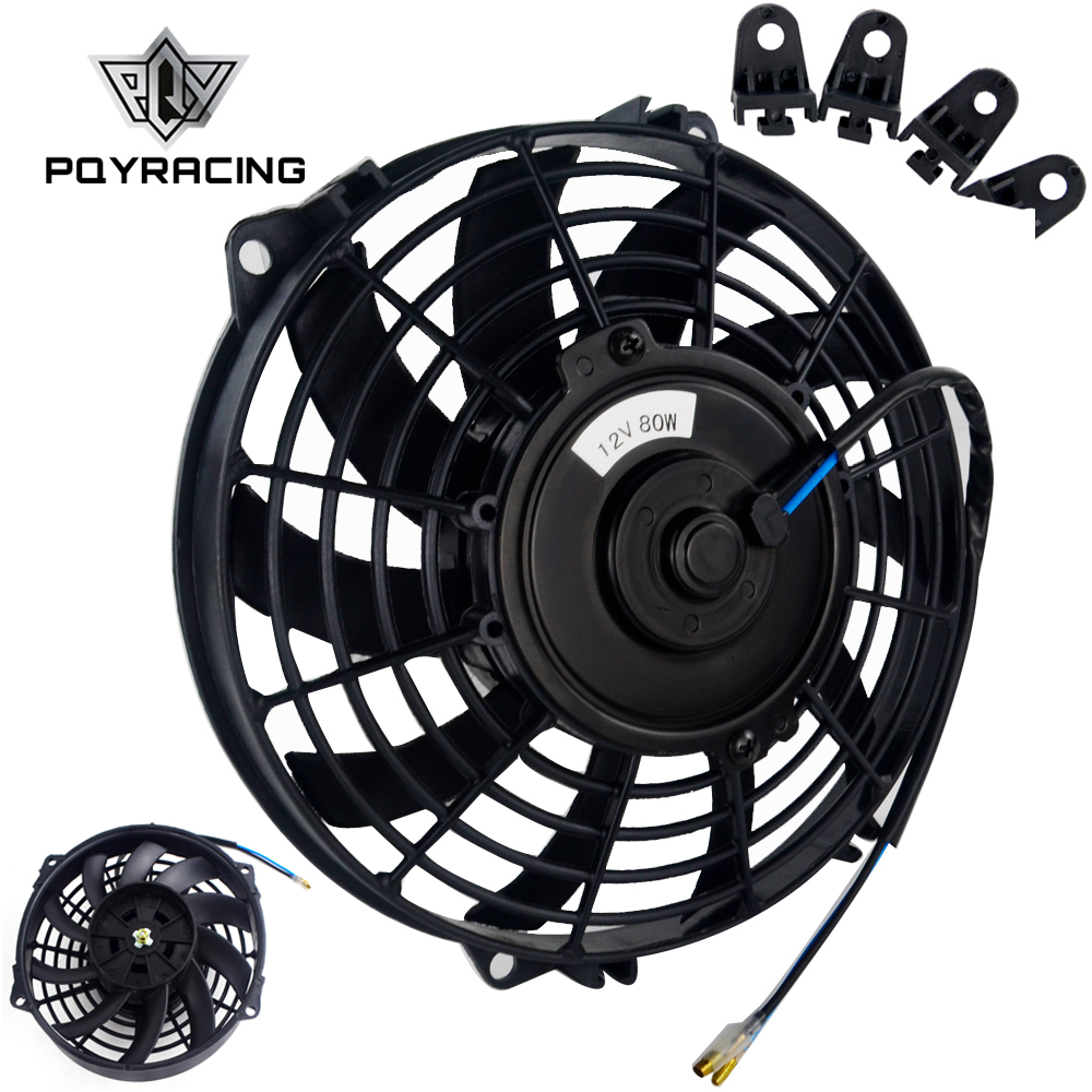 Auto Replacement Parts Pqy 9 Inch Universal 12v 80w Slim Reversible Electric Radiator Auto Fan Push Pull With Mounting Kit Type S 9 Pqy-fan9