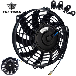 PQY - 9 Inch Universal 12V 80W Slim Reversible Electric Radiator AUTO FAN Push Pull With mounting kit Type S 9