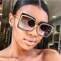 FEISHINI Мода Большой оправа солнцезащитных очков Mujer Óculos Feminino Винтаж высокое качество Классические красивые квадратные солнцезащитные очки д...