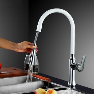 Image 1 - _ 360 Поворотный смеситель с одной ручкой, смеситель для раковины, выдвижной кухонный смеситель, черный и белый, 4 цвета на выбор KF933