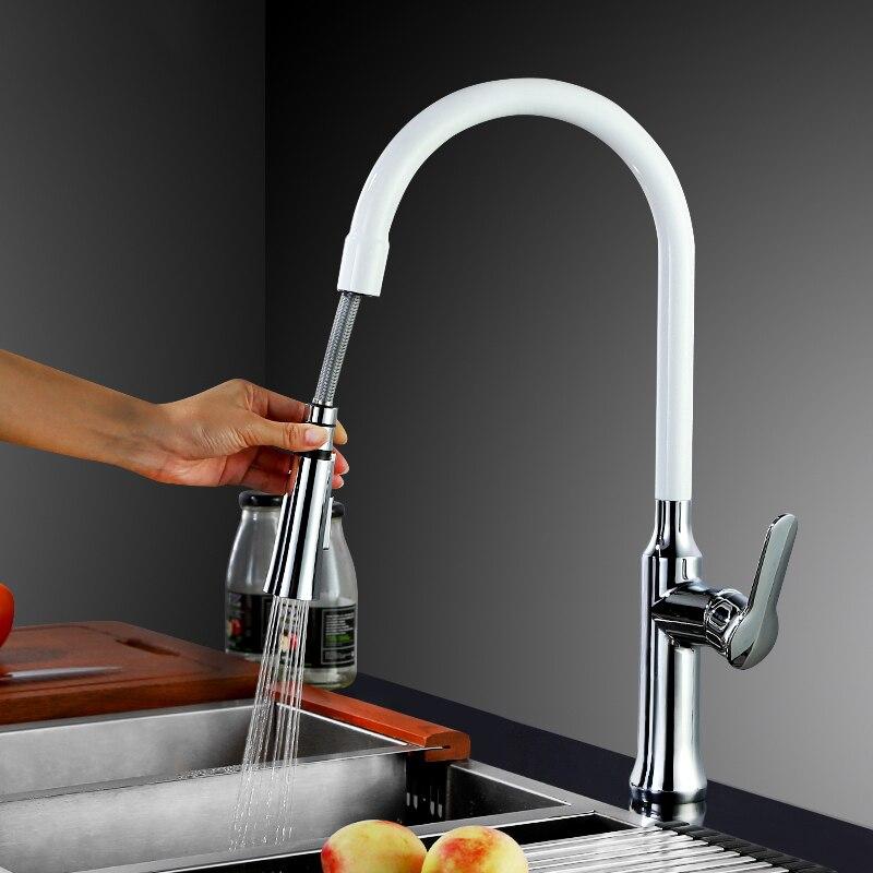 DHL 360 Swivel Einzigen Handgriff Wasserhahn Mischer Waschbecken Tippen Pull Out Unten Küchenarmatur Black & White 4 farbe wählen KF933