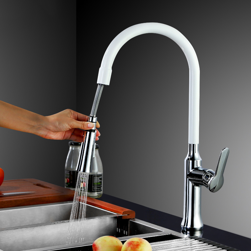 DHL 360 Swivel Single Handle Faucet Mixer Sink Tap Pull Out Down Kitchen Faucet Black&White 4 Color Choose KF933