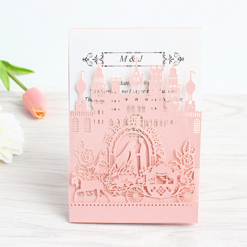 Us 39 0 Pop Up Wedding Invitation Card Royal Weeding Engagement Invite Laser Cutting Blue Pink White Free Ship In Cards Invitations From Home