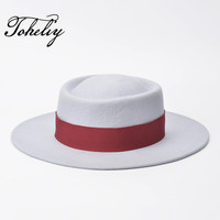 New Style Autumn winter spring fashion Large eaves pattern Ring type wool Flat Top Fedora Hat size about Brim 7cm Height 9cm