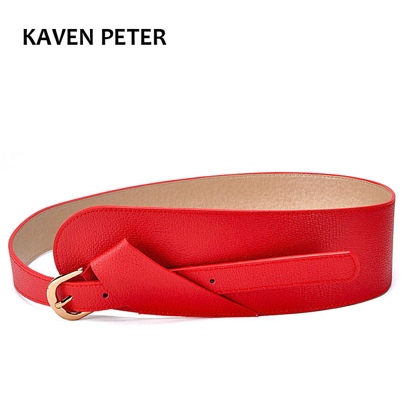 Fashion Lady   Belt   With Red Color Luxury Female Casual Women   Belts   Women Dress Apparel Wide   Belt   With Gold Buckle