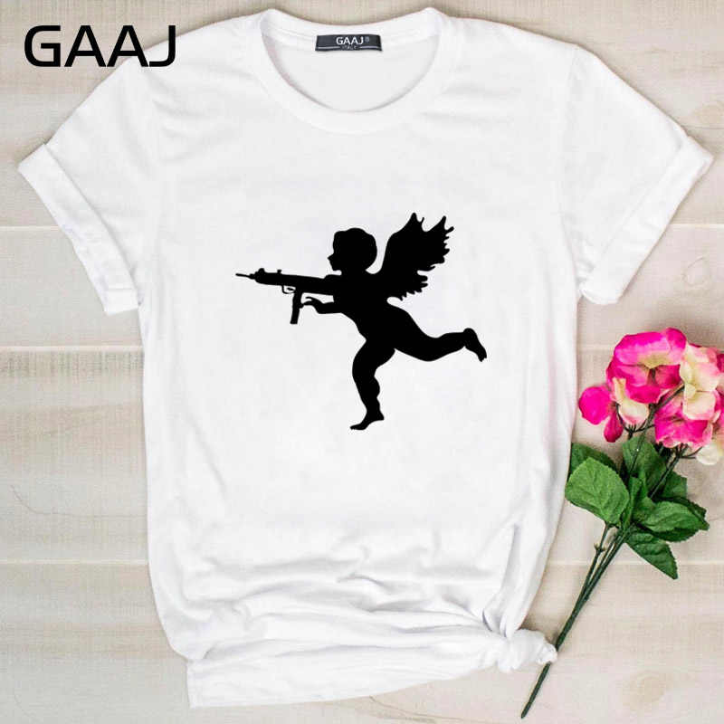 "GAAJ ""Bad Cupid Gun Angels Print"" T Shirt Women T Shirt O Neck Woman T-Shirt Short Sleeve Lovers Design Woman Print Women L870A#"
