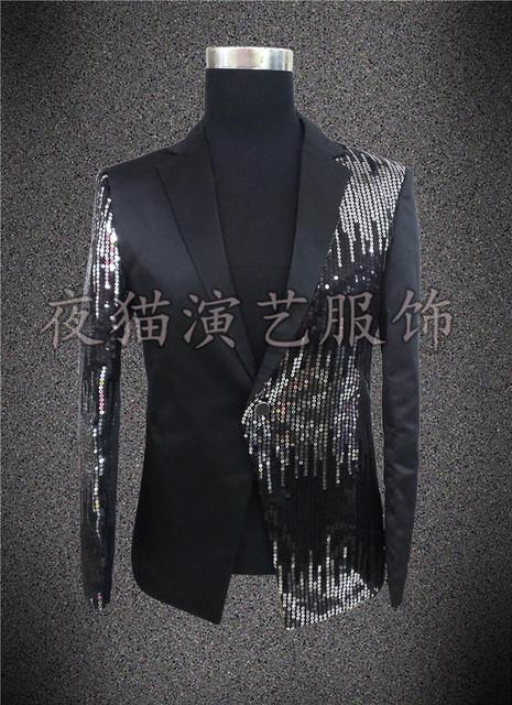 2014 paillette rojo traje trajes masculinos ropa delgada un botón traje de los hombres para el bailarín del cantante estrella de alta calidad libre del envío