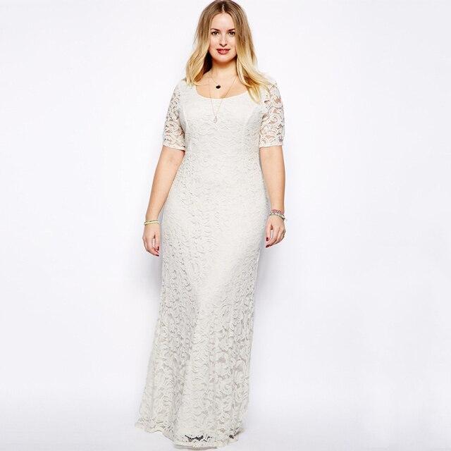 Witte kanten maxi jurk