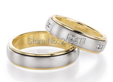 2014 Europe style bicolor two tone custom engagement rings and wedding bands rings jewelry love rings sets for him and her semipotent rings and modules