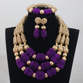 Luxury Purple Nigerian Beads Fashion Jewelry Set Wedding Anniversary Bride Gift Necklace Earrings Set Free Shipping WD808