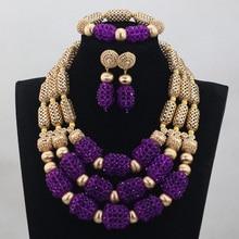 Luxury Purple Nigerian Beads Fashion Jewelry Set Wedding Anniversary Bride Gift Necklace Earrings Set Free Shipping WD808