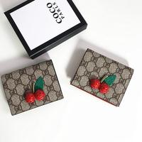 Classic Print Wallet Women Card Holder Foldable Cow Leather Small Wallet Mini Coin Purses cartera mujer Cherry Appliques Bags