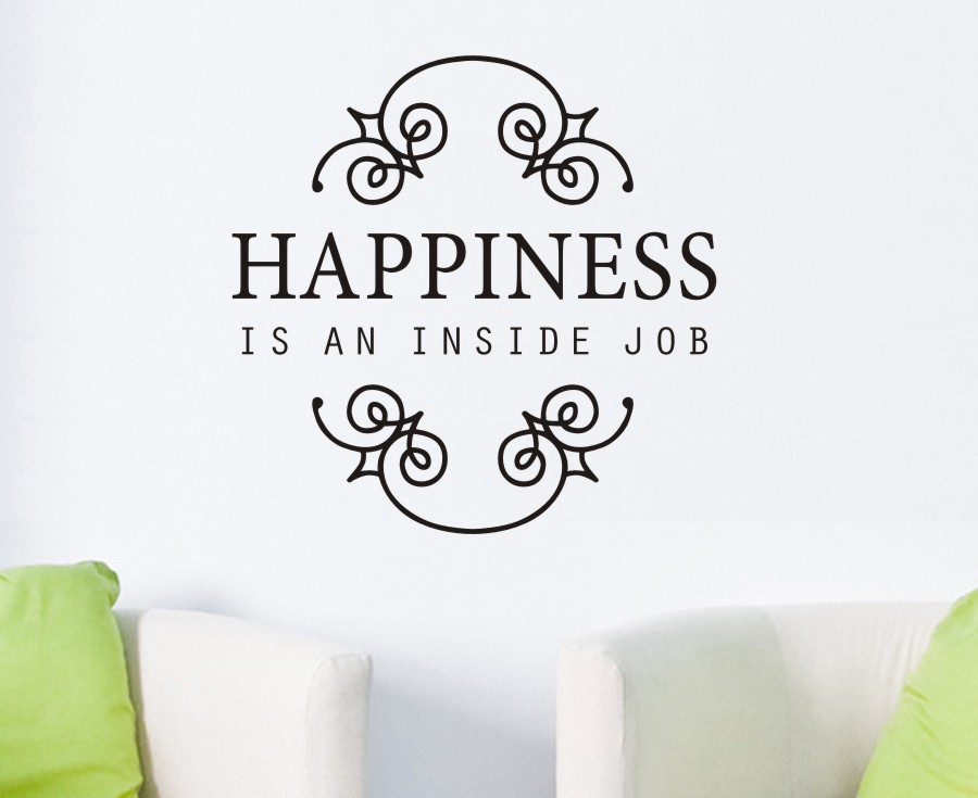 Happiness Is An Inside Job Flower Letter Word Art Removable Vinyl Wall  Decals Decors Stickers Livingrom Bedroom Instrumen Art In Wall Stickers  From Home ...