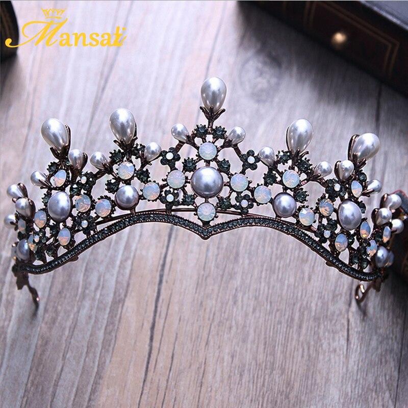 Luxurious Vintage Tiara High Quality Pearls Tiara Wedding Crown Rhinestone Tiaras Crowns Bridal Queen Princess Crown Diadem XY1
