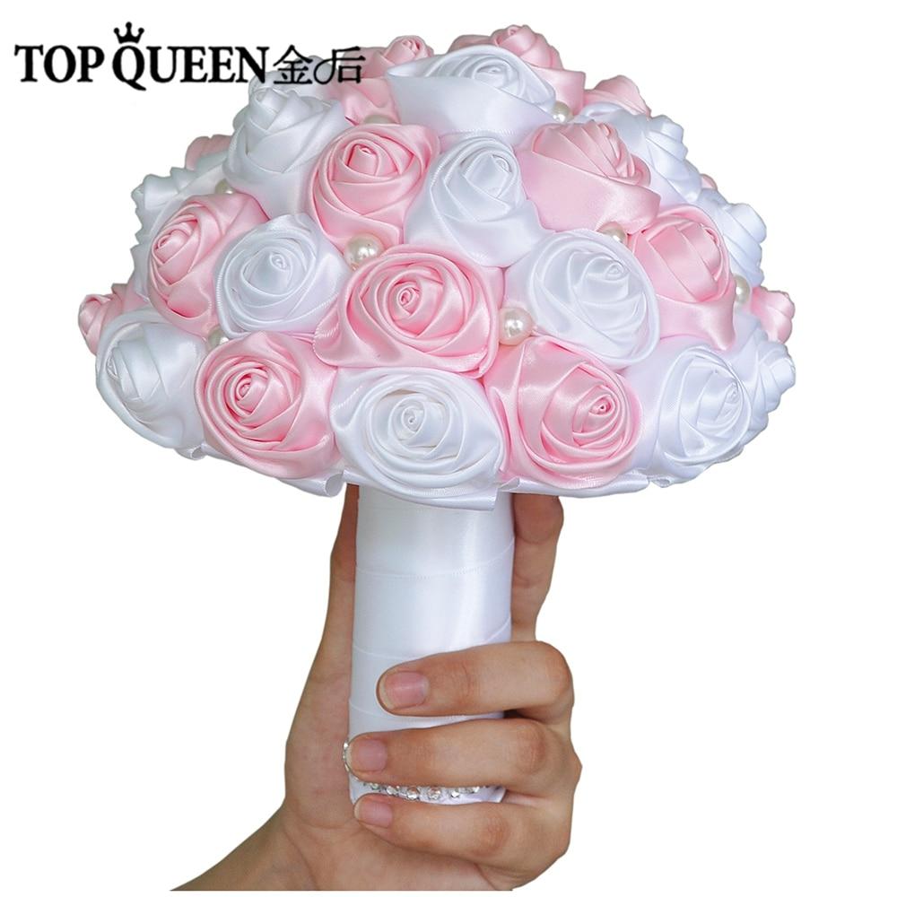 TOPQUEEN F4 PK Bridal Bouquets Artificial Flower Pink Wedding ...