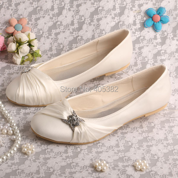 ФОТО Wedopus MW757 Hot Selling Beige Ballet Flats Wedding Bridal Shoes Gift for Her Plus Size