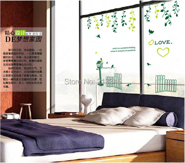 [Saturday Mall] - fresh home warm pastoral style decor wall stickers living room decals removable fence flower vine birds 6752
