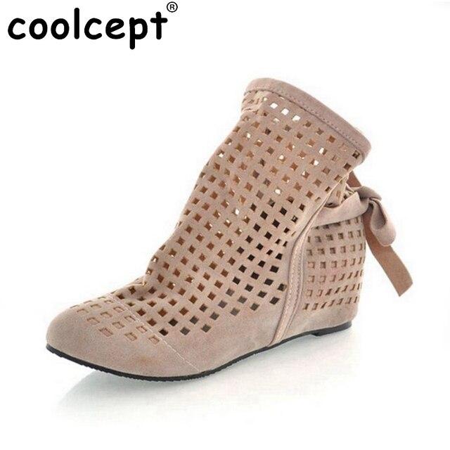 Women Cutout Flat Round Toe Low Hidden Wedges Summer Ankle Boots