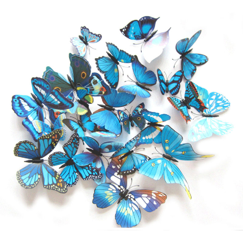 12Pcs 3D Magnet Butterflies DIY Wall Sticker Butterfly on the wall living room Home Decor Fridage stickers wedding Decoration