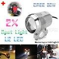 2x Super Bright 30W U2 LED Motorcycle Spotlight Headlight Driving Fog Head Light Spot Night Safety Lamp + Switch