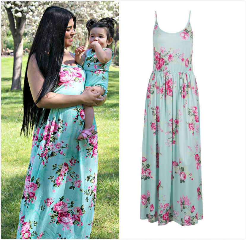 Floral Mother and Daughter Matching Floral Women Long Maxi Dress Girls Tassel Romper Beach Holidays Sundress