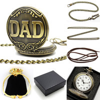 Bronze Discounted DAD Pocket Watch Pendant Father S Day Gifts Sets P38CKWB