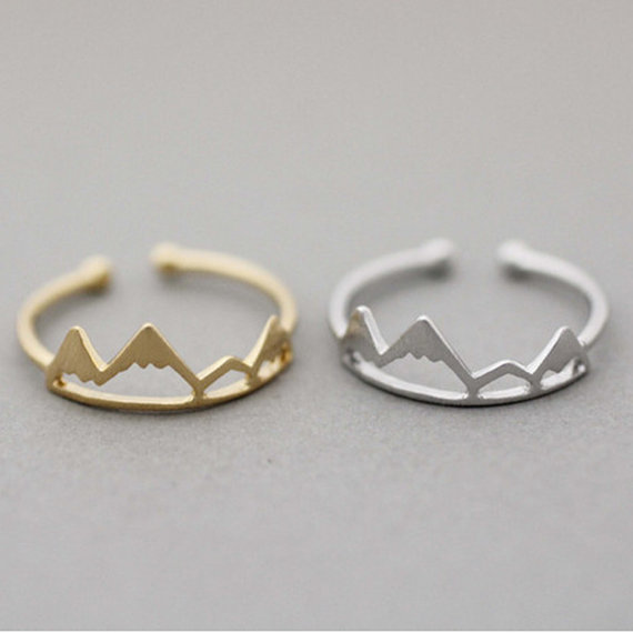 Gorgeous Tale Tiny Adjustable Stacking  Ring Silver Friendship Midi Rings For Women Vintage Mountain Ring Jewelry