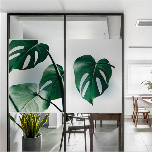 Frosted Glass Stickers Nordic Leaves English Bathrooms Balcony Door Windows  Electrostatic Transparent Opaque Film