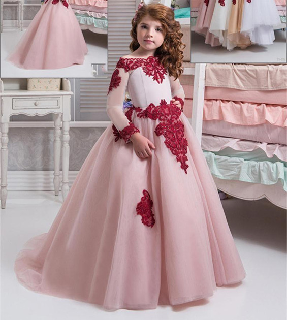 af8a55cc2e9b Lavender Fuchsia White Aquamarine Blue Pink Flower Girl Dress Wedding Party  Baby Girls Birthday Gown Custom Made