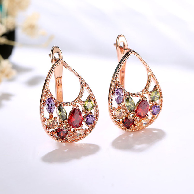 CARSINEL Luxury Gold Color Flower Jewelry Sets For Women Wedding with Colorful AAA Cubic Zircon Girlfriend Gift Wholesale