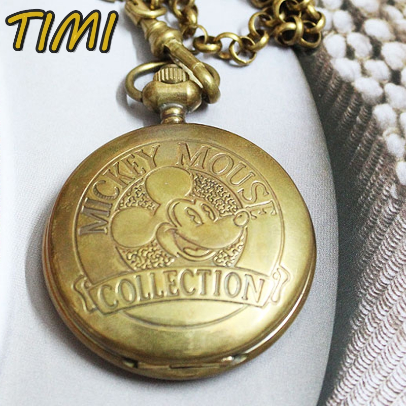 c731ae78ebfc Rare Mickey Mouse Case Brass Necklace Pocket Watch Collection Mens Watch