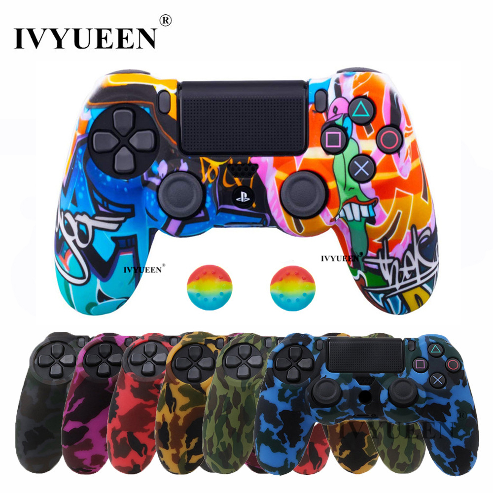 IVYUEEN 44 Colors Silicone Camo Protective Skin Case For Sony Dualshock 4 PS4 DS4 Pro Slim Controller Thumb Grips Joystick Caps image