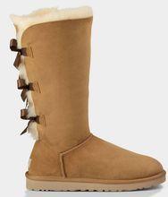 จัดส่งฟรีสามโบว์เบลีย์สูงธรรมชาติหนังแกะขนในหนึ่งหนังเลดี้ผู้หญิงรองเท้าหิมะฤดูหนาวรองเท้ารองเท้า