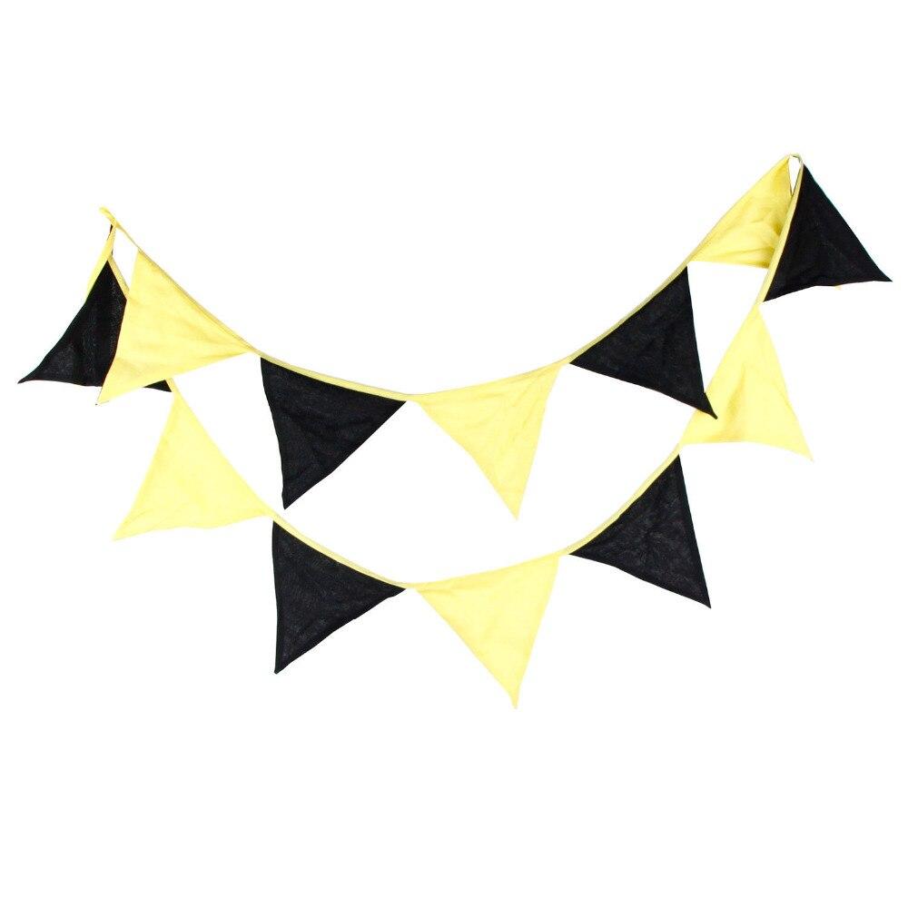 1ks 3,2M černá žlutá dvoubarevná domácí dekorace Bunting Bannery Svatební narozeniny strana Favor bavlna vlajka venkovní vlajky