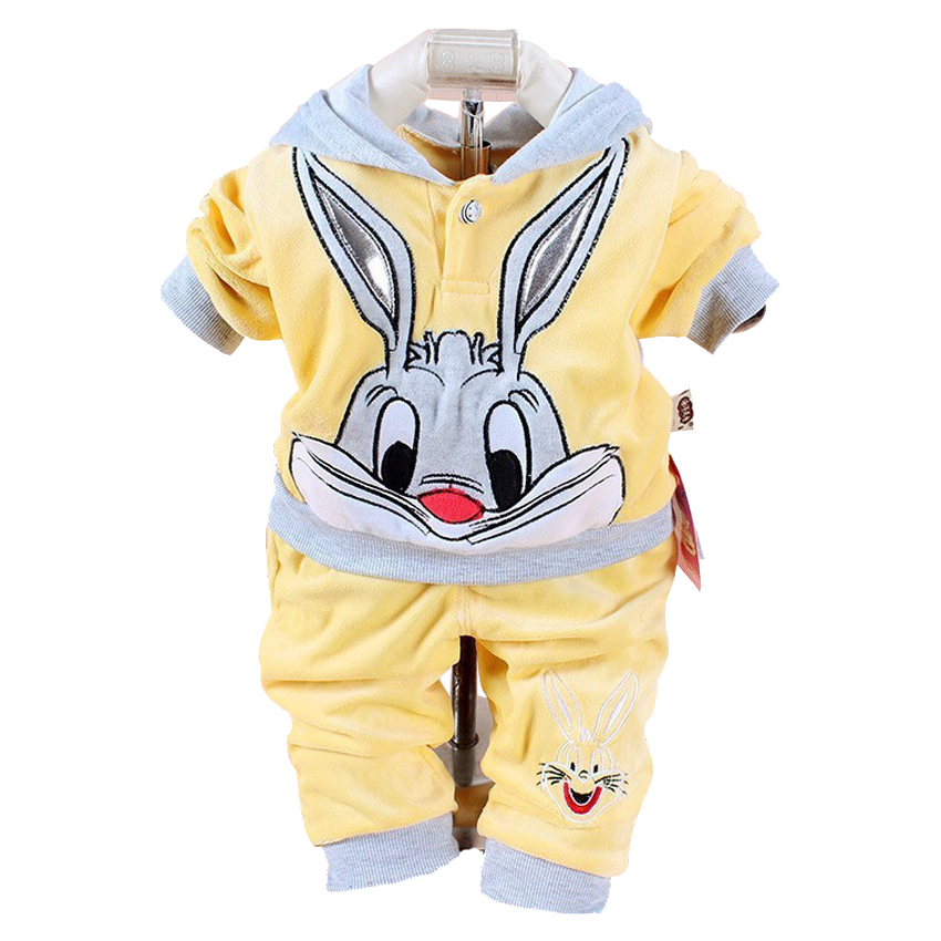 New Baby Boys Girls Clothing Sets Children Spring And Autumn Cartoon Rabbit Cotton Hooded Long Sleeve Coat Pants Suit Set new 2014 spring autumn girls cartoon spider man suit boy long sleeve pants clothing set high quality baby kids casual clothing