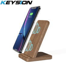 KEYSION 10W Wooden Qi Wireless Charger for iPhone XR XS Max 8Plus Xiaomi mi 9 fast Charging Stand Samsung S10 S9 S8